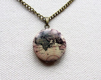 World Map Locket  Mini Locket Vintage Map Globe World Necklace Map Jewelry Travel Gift