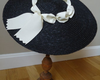 Black Colonial Hat with Vintage White Ribbon Trim