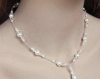 Bridal Necklace, White or Ivory Pearl and Crystal Bride Necklace, Sterling Silver, Bridal Pearls, Bride, Wedding Jewelry, Sterling Silver