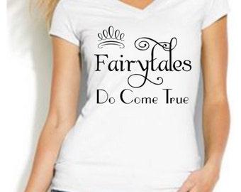 Fashion Vixen Fairytales Do Come True White Vneck Short Sleeve Tshirt Available in S M L XL Plus Size 1x 2x 3x 4x 5x