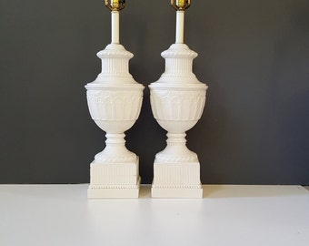 Vintage Urn Lamps ~ Large Pair of White Neoclassical Urn Form Table Lamps