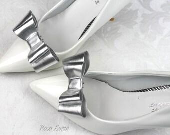 Metallic Silver Shoe Clips, Metallic Silver Bow Shoe Clips, Silver Shoe Clip Bows, Designer Shoe Bows