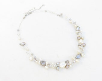 White silver gray freshwater pearl necklace with glass beads on silk thread