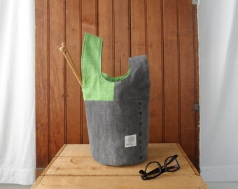 Project Bag - Recycled denim and green linen