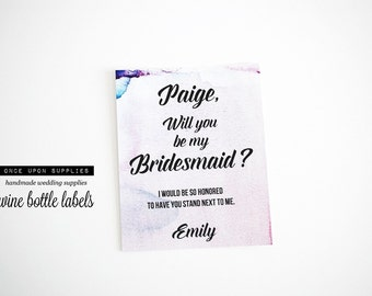 Pink and Lavender Will You Be My Bridesmaid Gift Labels Stickers. Personalized Wedding Stickers. Favor Labaels.