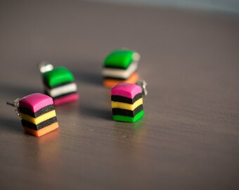 Licorice All-Sorts Studs - Cute Polymer Clay Candy Earrings