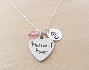 Matron of Honor Necklace - Bridesmaid Necklace - Birthstone Necklace - Personalized Gift - Initial Necklace - Sterling Silver Necklace