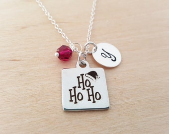 Ho Ho Ho Necklace - Christmas Necklace - Initial Necklace - Personalized Necklace - Sterling Silver Jewelry - Gift for Her