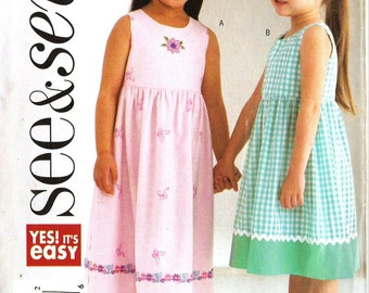 Butterick See & Sew B4160 Girl's Easy Spring or Summer Dress and Hat Sewing Pattern 6-8