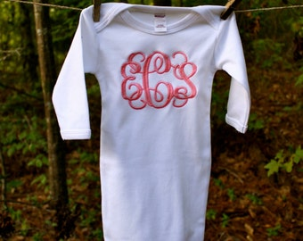 Monogrammed Baby Girls Gown-Monogrammed Gown, Monogrammed Baby girls, Monogrammed Baby gift, Baby shower gift, New Baby gift