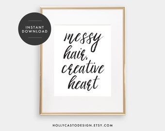 Messy Hair Creative Heart Print | Instant Download Print, Printable Office Art