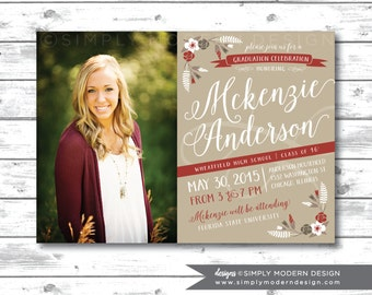 rustic graduation announcement, graduation invitation, floral, vintage, card, PRINTABLE