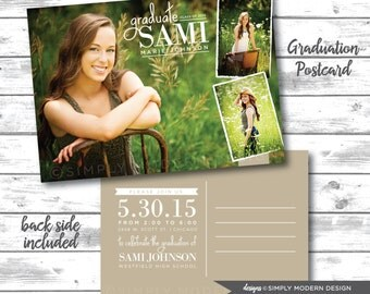 graduation, invitation, card, announcement, postcard, graduation postcard, PRINTABLE or PRINTED CARDS