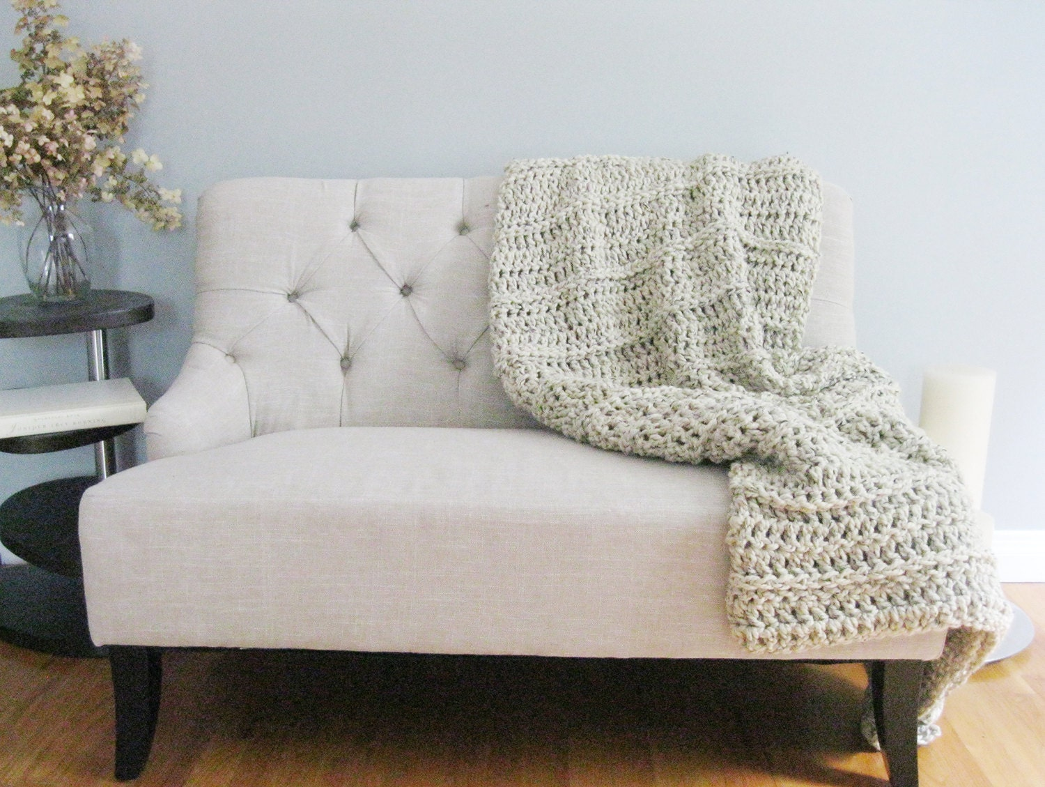 Large Knitting Blankets : Large knit throw chunky blanket huge