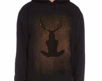 Black, Hoodie, hoody, Cernunos, pan design, Pagan, Mens, clothing, gift for him, birthday gift, fashionable, comfortable, UK seller.