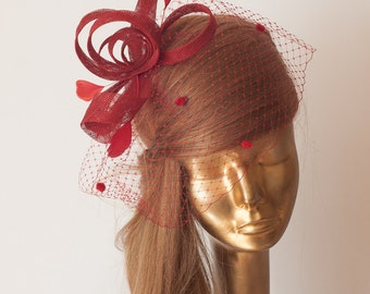 BIRDCAGE Veil RED FASCINATOR. Sinamay Bridal Fascinator with Veil