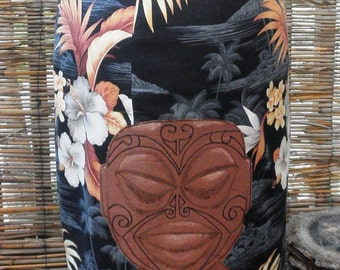 Tangaroa Moku Tiki Pencil Skirt, with hand embroidered tattooed tiki