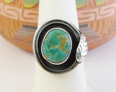 Sterling Silver Southwestern Green Turquoise Ring Size 6.75 Vintage Jewelry