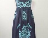 Embroidered Mexican Sundress Cotton Strapless Dress In Blue, Beach Dress, Boho Dress