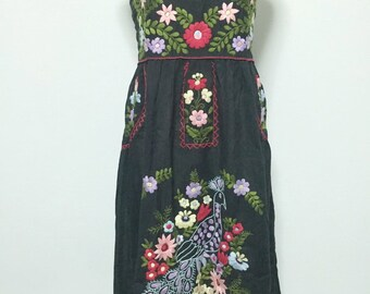 Mexican Embroidered Sundress Cotton Strapless Dress In Black With Lining, Beach Dress, Boho Dress