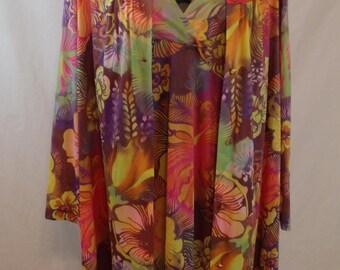 Vintage 60s Funky Floral Vanity Fair Robe Nightgown Gown Peignoir Set Size S