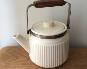 Vintage Japan Ribbed Teapot with Wood Handle in White