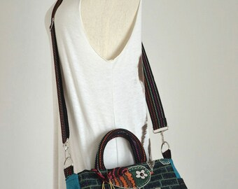 Vintage Hippie Style Handbag Owl Crossbody Bag Boho Hobo Bag Shoulder Bag Sling Messenger Bag Chic Purse Blue Polka Dot, Hooty Hoot