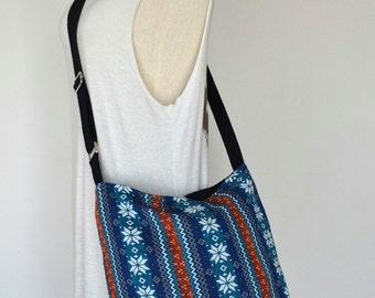 Woven Messenger Bag Tribal Bag Bohemian Handbags Diaper Bag Purse Cotton Bag Hippie Bag Boho Hobo Bag Shoulder Bag Hmong Bag EB03