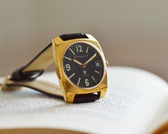 Military Mens Watch WOSTOK Komandirskie, Rectangle Men's Wrist Watch, Mechanical Gent watch Gift For Him, Genuine Leather Strap Watch