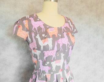 Llama Love Dress - Heart, Valentine's Day, Alpaca, Novelty Print, Pink, Summer, Day
