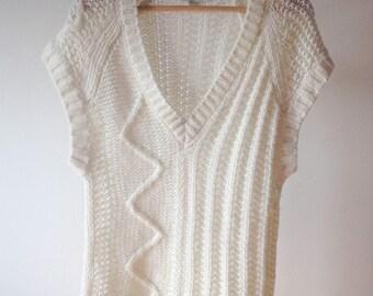 Diesel White Wool Mix Sleeveless Sweater Vest, size S