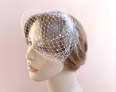 Mini birdcage veil, veil Swarovski crystals, small bridal veil, mini wedding veil, white birdcage veil, ivory birdcage veil Style 603