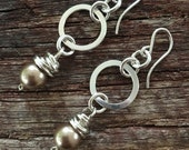 Bronze Austrian Crystal Wire Wrapped Circle Sterling Silver Drop Earrings