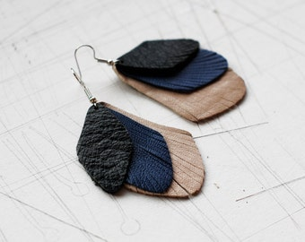 Drop Shape Leather Earrings / Three Layer /Black/Deep Blue/Gray