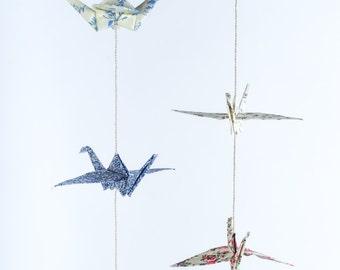 2 Origami cranes garland, fabric cranes, vertical wall art, bird home decor, crane mobile, origami wedding, good luck gift, paper crane bird