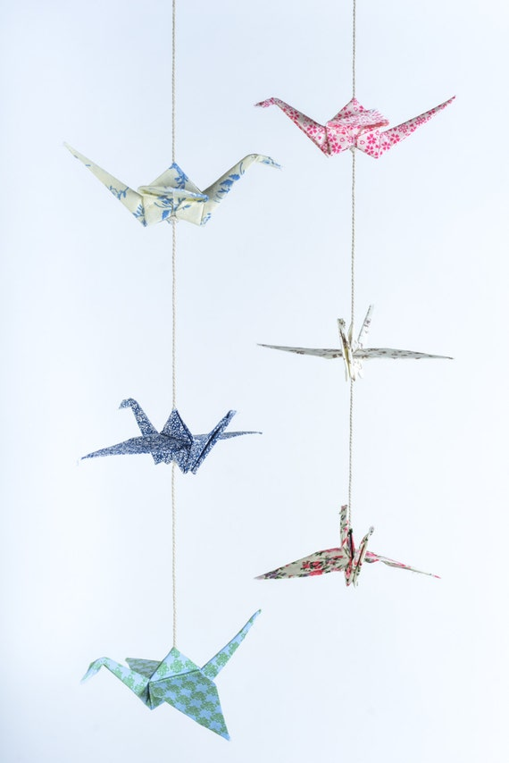 2 Origami Cranes Garland Fabric Cranes Vertical Wall Art