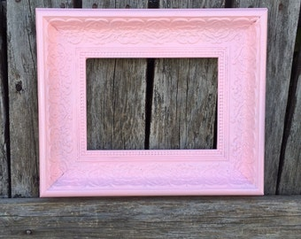 Pink 5x7 Picture Frame, Ornate, Baby Pink, Wedding Frame,Wide Chunky Frame, Baby Girl Nursery Frame, #1556(Los Angeles)