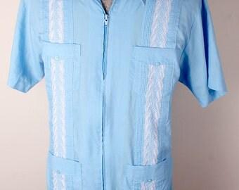 1970s Era The Genuine Haband Brand Guayabera Cuban Summer Leisure Shirt Blue Embroidered Size M