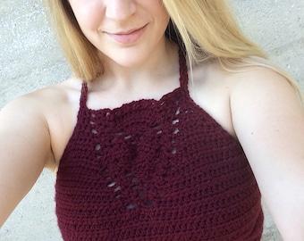 Crochet Maroon Halter Top - Size Medium
