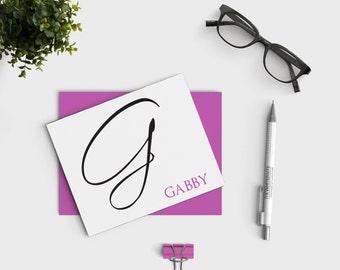 Calligraphy Stationary - Personalized Stationery Set - Custom Notecard Set