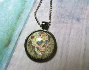 Day of the dead  glass dome pendant-suger skull-heart-cross-red rose-gothic emo necklace