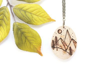 Wood Slice Necklace, Mountain Necklace, Wood Pendant, Woodburned Necklace, Mountain Forest Necklace, Wood Necklace, Woodland Necklace