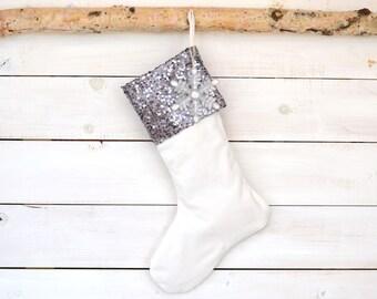 Christmas Stocking - Velvet and Gunmetal Sequin - Stocking, Velvet Stocking, Silver Stocking, Personalized Stocking