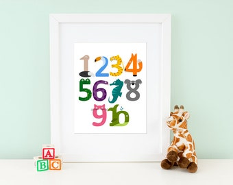 Animal Number Print, Children's Art for Nursery or Kid's Room