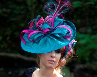 Fascinator,Teal & Magenta fascinator, Headpiece, Disc Style Hat, Ladies' Day Hat, Ascot Hat