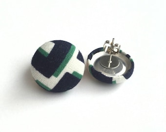 Button earrings navy blue green and white abstract pattern fabric earrings
