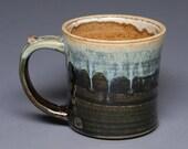 Stoneware Mug for Coffee or Tea: earth tones and drippy glaze. Handmade Pottery / Ceramics