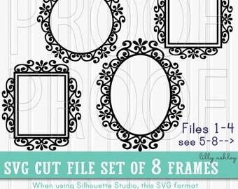 Monogram SVG Frames Set of 8 cut files {SVG/PNG/jpg format} Commercial use ok Frame svg border svg flourish svg circle rectangle oval square