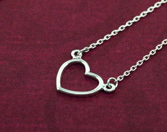 Single Heart Necklace, Silver Heart Necklace, Silver Heart Pendant, Love Necklace, Heart Shape Necklace, Silver Heart Jewelry, Heart Pendant