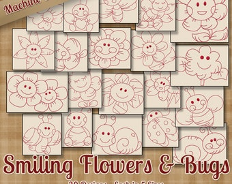 Smiling Flowers & Bugs Redwork Machine Embroidery Patterns 20 Designs 5 Sizes INSTANT DOWNLOAD - art art70 pes jef exp sew xxx vip hus dst